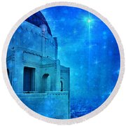 Griffith Park Observatory At Night Round Beach Towel