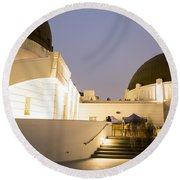 Griffith Park Observatory No. 3 Round Beach Towel