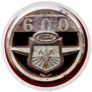 Grill Logo Detail - 1950s-vintage Ford 601 Workmaster Tractor Round Beach Towel