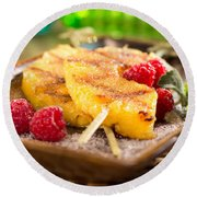 Grilled Pineapple  Round Beach Towel