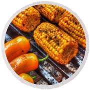 Grilling Corn And Peppers Round Beach Towel
