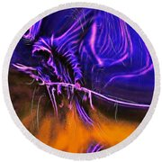 Grim Reaper In Abstract Round Beach Towel