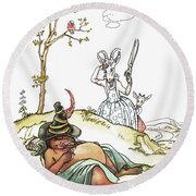 Grimm: Wolf And Seven Kids Round Beach Towel