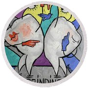 Grinding Teeth Round Beach Towel by Anthony Falbo