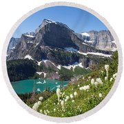 Grinnell Lake With Beargrass Round Beach Towel