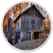 Grist Mill Under Fall Foliage Round Beach Towel