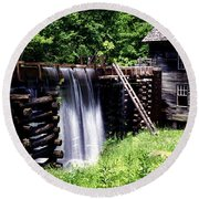 Grist Mill And Water Trough Round Beach Towel