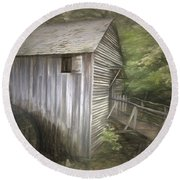 Grist Mill At Cades Cove Round Beach Towel