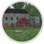Grist Mill At Wayside Inn Round Beach Towel