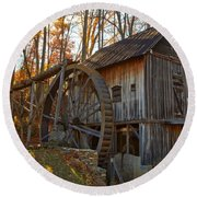 Grist Mill With A Golden Glow Round Beach Towel
