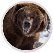 Grizzley Encounter Round Beach Towel
