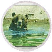 Grizzly Bath Round Beach Towel