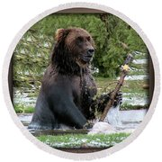 Grizzly Bear 08 Round Beach Towel