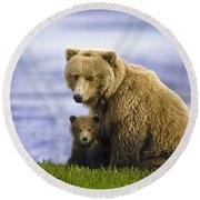 Grizzly Bear And Cub Round Beach Towel