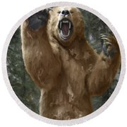 Grizzly Bear Attack On The Trail Round Beach Towel