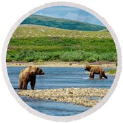 Grizzly Bear Communication In The Moraine River In Katmai  Np-ak Round Beach Towel