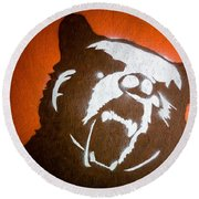 Grizzly Bear Graffiti Round Beach Towel by Edward Fielding