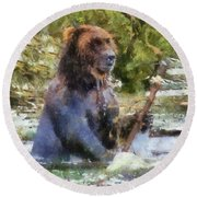 Grizzly Bear Photo Art 02 Round Beach Towel