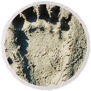 Grizzly Bear Track In Soft Mud. Round Beach Towel