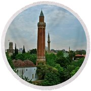Grooved Minaret Fromthirteenth Century In Antalya-turkey Round Beach Towel