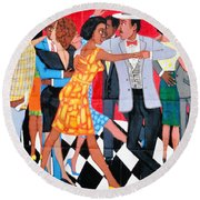 Groovin High In Nyc Round Beach Towel