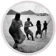 Gros Islet Fishermen Round Beach Towel