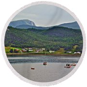 Gros Morne Mountain Over Bonne Bay At Norris Point In Gros Morne Np-nl Round Beach Towel