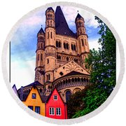 Gross St. Martin In Cologne Germany Round Beach Towel