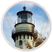 Grosse Point Lighthouse Round Beach Towel