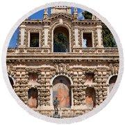 Grotesque Gallery In Real Alcazar Of Seville Round Beach Towel