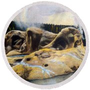 Grotto Geyser Yellowstone Np 1928 Round Beach Towel