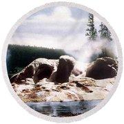 Grotto Geyser Yellowstone Np Round Beach Towel