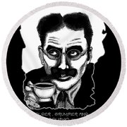 Groucho In The Morning Round Beach Towel