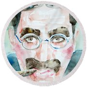 Groucho Marx Watercolor Portrait.1 Round Beach Towel