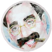 Groucho Marx Watercolor Portrait.2 Round Beach Towel