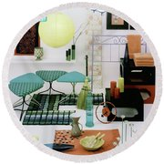 Group Of Furniture And Decorations In 1960 Colors Round Beach Towel