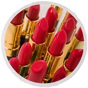 Group Of Red Lipsticks Round Beach Towel
