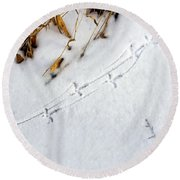 Grouse Tracks Round Beach Towel