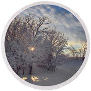 Grove And Road - Winter Round Beach Towel