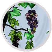 Growing Glass Grapes Round Beach Towel