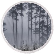 Growing In The Fog Round Beach Towel