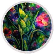 Growing Together In Love Round Beach Towel
