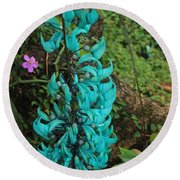 Growing Turquoise Round Beach Towel