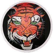 Growling Tiger Round Beach Towel