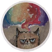 Grumpy Cat And Her Colorful Dreams Round Beach Towel