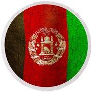 Grunge Afghanistan Flag Round Beach Towel