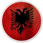 Grunge Albania Flag Round Beach Towel