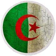 Grunge Algeria Flag Round Beach Towel