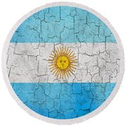 Grunge Argentina Flag Round Beach Towel