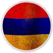 Grunge Armenia Flag  Round Beach Towel
